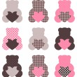 Cute abstract Teddy retro set ( brown & pink ) — Stock Vector #20430195