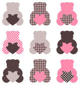 Cute abstract Teddy retro set ( brown & pink ) — Stock Vector