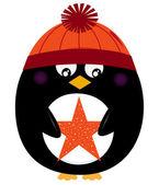 пингвин зима холдинг рождественские звезды вектор — Cтоковый вектор