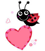 Cute flying Ladybug holding heart isolated on white — Vecteur