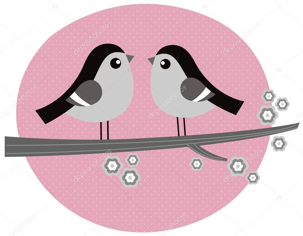 Cute monochrome love Birds. Vector retro Illustration — Stock Vector #20430939