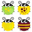 Cute colorful beetle set isolated on white — Stock Vector