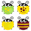 Stock Vector: Cute colorful beetle set isolated on white