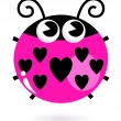 Love pink Ladybug with hearts isolated on white — Stock Vector