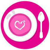Pink Valentines love soup in circle isolated on white — Stock Vector