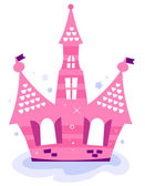 Pink princess sky Castle isolated on white — Stock Vector