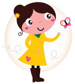 Retro spring cute Girl in yellow dress with butterfly — Stock Vector
