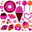 Royalty-Free Stock Vector Image: Sweet patterned cakes set for Valentine\'s day isolated on white