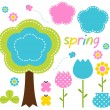Spring colorful flowers and nature design elements — Stock Vector
