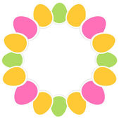 Colorful easter eggs in circle with copy space — Stock Vector