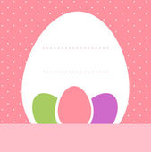 Pink dotted easter background with eggs and copyspace — Stock Vector