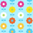 Spring flower seamless pattern vector design ( blue ) — Stok Vektör