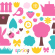 Cute spring and easter colorful design elements isolated on whit - Stock Vector