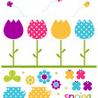 Colorful spring tulips set isolated on white — Stock Vector
