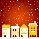 雪在后面多彩冬季圣诞小镇 — 图库矢量图片