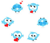 Cute blue twitter birds with red hearts isolated on white — Stock Vector