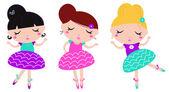Cute little dancing ballerina girls set isolated on white — Stock Vector