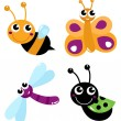 Cute little cartoon bugs isolated on white — Stock Vector