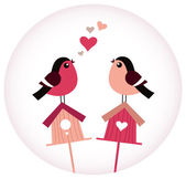 Cute Birds in love sitting on Birdhouses - retro vector — Stock Vector