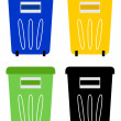 Set of colorful recycle bins isolated on white — Stock Vector