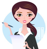 Young business woman with pen isolated on white — Stock Vector