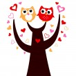 Cute vector love Owls on tree isolated on white - Stock Vector