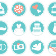 Wedding icons in retro style isolated on white ( blue ) — Stock Vector
