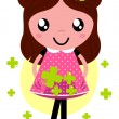 Cute little spring Girl with four leaf clovers — Stock Vector