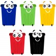 funny colorful recycle bin mascots isolated on white — Stock Vector