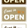 Royalty-Free Stock Vector Image: Set of retro open signs isolated on white