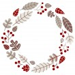 Xmas retro holiday wreath isolated on white — Stock Vector