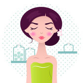 Beautiful Spa Women in green towel and bath accessories — Stock Vector