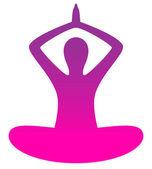 Beyaz izole kadın excercising yoga siluet — Stok Vektör