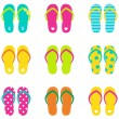 Summer flip flops set isolated on white — Stock Vector
