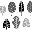 Black Leaves silhouette set isolated on white. Vector — Stock Vector