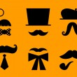 Mustaches and hats retro accessories isolated on orange — Stock Vector