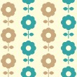 Stock Vector: Retro flowers seamless background ( blue and brown )