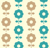 Retro flowers seamless background ( blue and brown ) — Stock Vector
