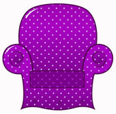 Purple dotted chair clipart isolated on white ( vector ) — ストックベクタ