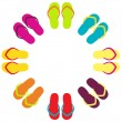 ストックベクタ: Summer colorful flipflops in circle isolated on white