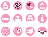 Wedding icons in retro style isolated on white ( pink ) — Stock Vector