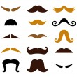 Set of retro colorful Mustaches isolated on white — Imagen vectorial