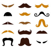 Set of retro colorful Mustaches isolated on white — Stock Vector