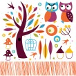 Cute autumn owls and design elements isolated on white — Stock Vector