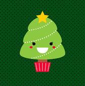 Adorable cartoon Christmas Kawaii tree isolated on dotted backgr — Stock Vector
