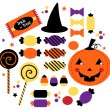 Halloween cute sweet Candy collection isolated on white — Stock Vector
