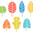 Autumn leaves collection in vibrant colors isolated on white — Stock Vector