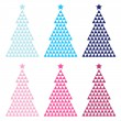 colorful mosaic xmas tree set isolated on white — Stock Vector
