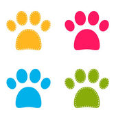 Cute colorful Doggie Paws isolated on white — Stock Vector
