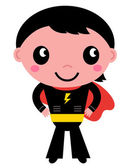Little cute superhero boy isolated on white — Stock Vector